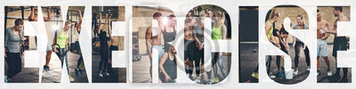 Bild Collage of smiling young people exercising at the gym