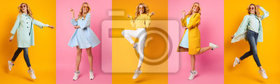 Bild Collage Of Woman Jumping And Running On Colourful Backgrounds