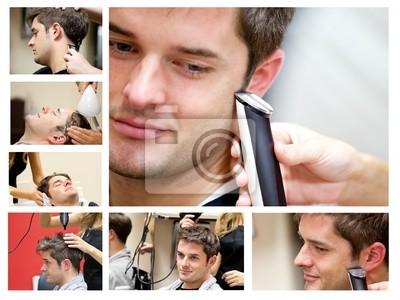 Collage von einem jungen Mann beim Friseur