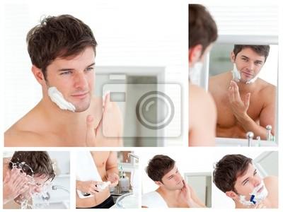 Collage von einem jungen Mann Rasieren