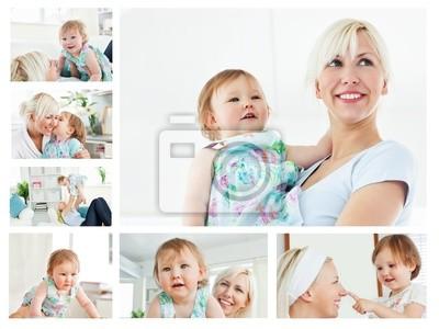 Collage von einer blonden Frau mit einem Baby im Wohnzimmer