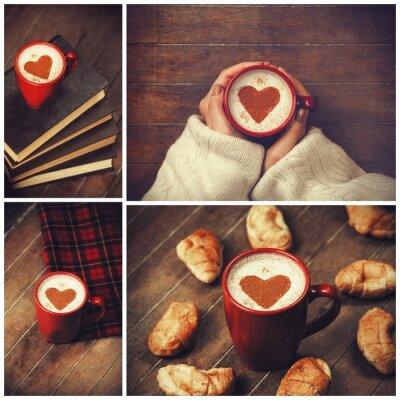 Bild Collage von Fotos mit Tasse und Form Herzen.