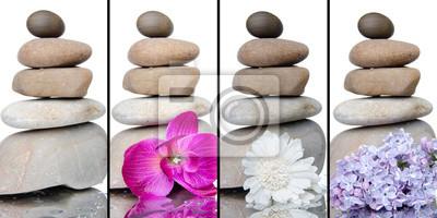 Bild Collage von gestapelten Steinen mit Blumen