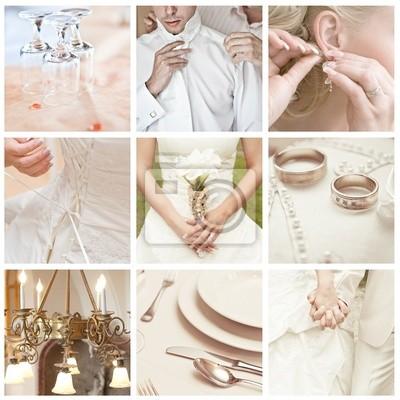 Collage Von Neun Hochzeit Fotos Leinwandbilder Bilder Wed Kragen
