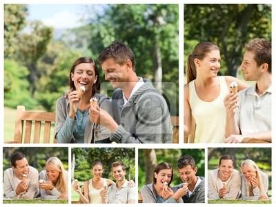 Collage von schönen Paare essen Eis in einem Park