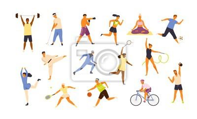 Bild Collection of cute funny men and women performing various sports activities. Bundle of happy training or exercising people isolated on white background. Vector illustration in flat cartoon style.