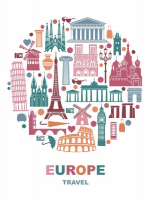 Collection of Europe detailed silhouettes. Set Travel Landmarks in the form of a circle. Vector illustration