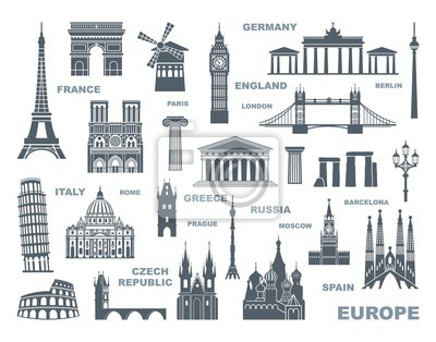Collection of Europe detailed silhouettes. Set Travel Landmarks. vector illustration