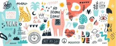 Bild Collection of handwritten slogans or phrases and decorative design elements hand drawn in trendy doodle style - animals, plants, symbols. Colorful vector illustration for T-shirt or sweatshirt print.