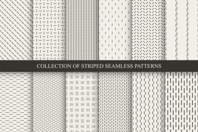 Bild Collection of minimalistic striped seamless patterns. Beige endless linear textures. Repeatable unusual simple monochrome backgrounds