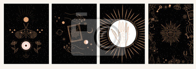 Bild Collection of mystical and mysterious illustrations in hand drawn style. Skulls, animals, space objects, magic ball, crystals, hands. Minimalistic objects made in the style.