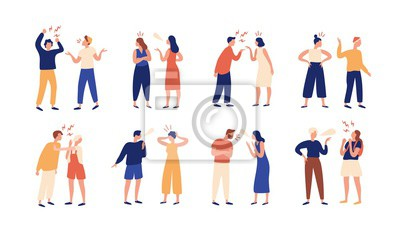 Bild Collection of pairs of people during conflict or disagreement. Set of men and women quarreling, brawling, bickering, shouting at each other. Colorful vector illustration in flat cartoon style.