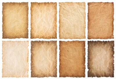 Bild collection set old parchment paper sheet vintage aged or texture isolated on white background
