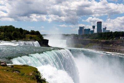 Bild Color DSLR Stock Weitwinkelbild von Niagara Falls, zeigt American Falls und kanadische Seite; Horizontal mit textfreiraum für text