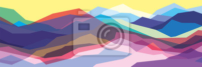 Bild Color mountains, translucent waves, abstract glass shapes, modern background, vector design Illustration for you project