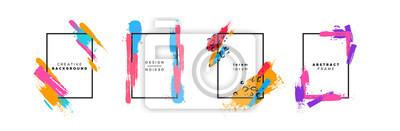 Bild Colorful brush paint background template set
