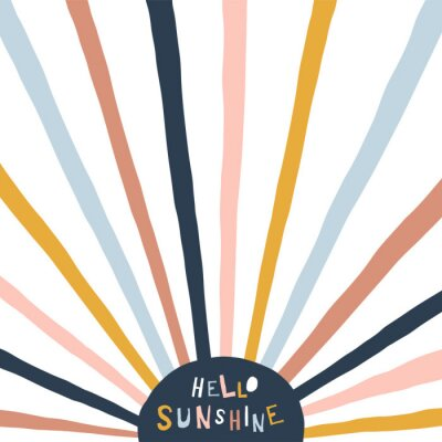 Bild Colorful childish illustration with sun and text. Hello sunshine paper cut style lettering. Typographic print for kids nursery design.