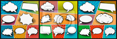 Bild Colorful comic book background.Blank white speech bubbles of different shapes. Rays, radial, halftone, dotted effects. Vector illustration in pop art style