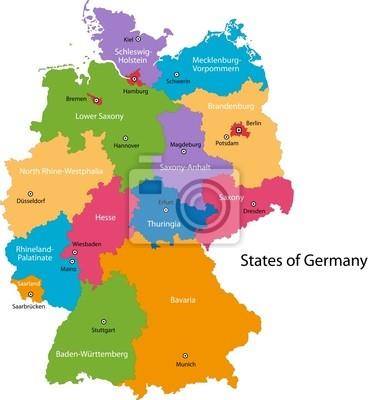 Bild Colorful Deutschland Karte Mit Regionen Und Städte