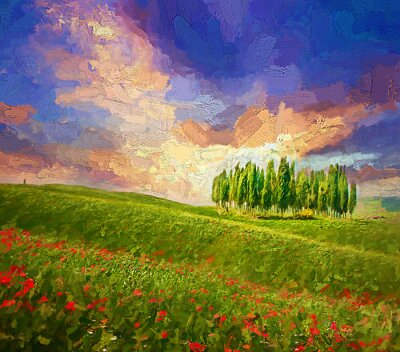 Bild Colorful evening sunset with famous group of cypress tress and red poppy flowers on the rolling hills in summer time at Tuscany, Italy.- oil painting.