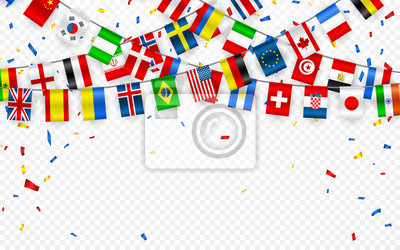 Bild Colorful flags garland of different countries of the europe and world with confetti. Festive garlands of the international pennant. Bunting wreaths. Vector banner for celebration party, conference