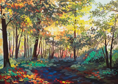 Bild colorful forest with trees in spring at sunset, oil painting