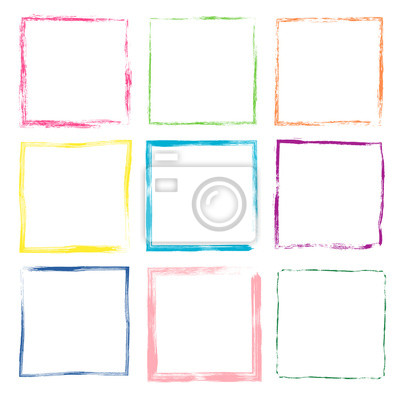 Bild Colorful hand drawn vector set with cute grunge square frames and borders for kids products