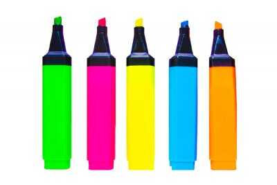 Bild Colorful markers on white background, a lot of colored markers on white background, photo of markers for drawing different colors.