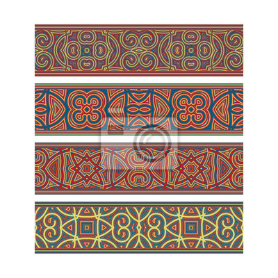 Colorful patterned ribbon design. Move ornament elements to Brush Panel to create vector pattern brushes.
