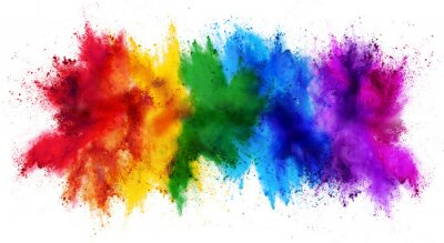 Bild colorful rainbow holi paint color powder explosion isolated white wide panorama background