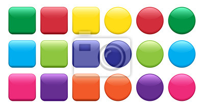 Bild Colorful set of buttons, square and round shape. Vector illustration