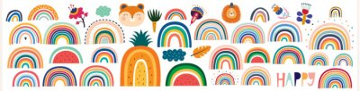 Bild Colorful Summer trendy rainbows vector illustrations. Rainbows and doodles collection. Rainbows, cute animals and flowers