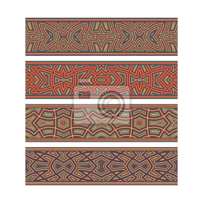 Colorful tribal ribbon design. Move ornament elements to Brush Panel to create vector pattern brushes.