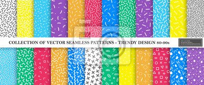 Bild Colorful vibrant vector collection of memphis seamless patterns. Fashion design 80-90s. Bright stylish textures.