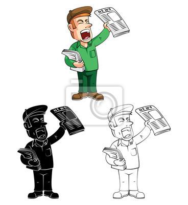 Coloring book paper boy cartoon character leinwandbilder • bilder ...