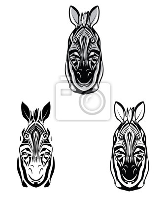Coloring book zebra head cartoon character leinwandbilder • bilder ...