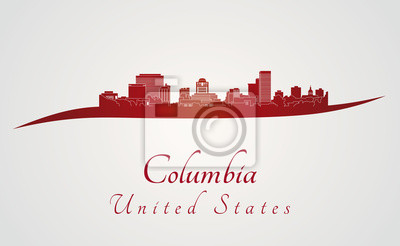 Bild Columbia Skyline in rot
