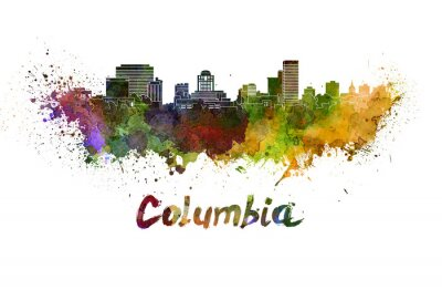Bild Columbia skyline in watercolor splatters with clipping path