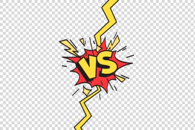 Bild Comics vs frame. Versus lightning ray border, comic fighting duel and fight confrontation isolated cartoon vector background
