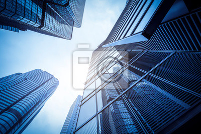 Bild Commercial buildings in Hongkong are low angle, China,