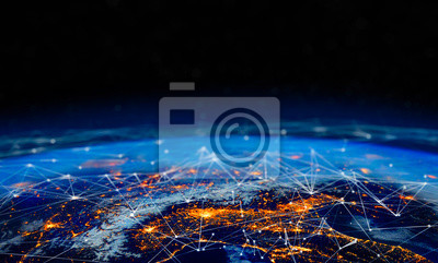 Bild Communication technology for internet business. Global world network and telecommunication on earth cryptocurrency and blockchain and IoT. Elements of this image furnished by NASA