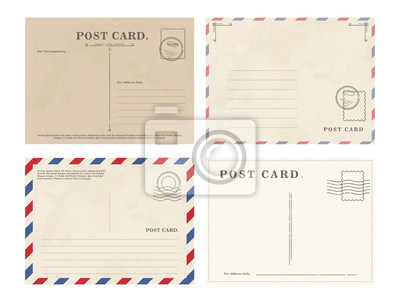 Bild Composed graphic set of various postcards with blank writing area on white background
