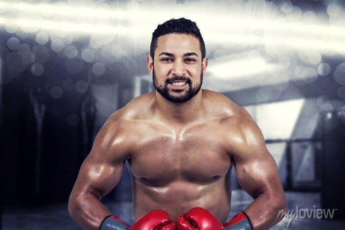 Bild Composite-Bild der muskulösen Mann Boxen in Handschuhen