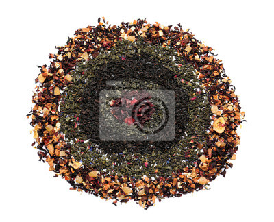 Bild Composition with different types of dry tea leaves on white background