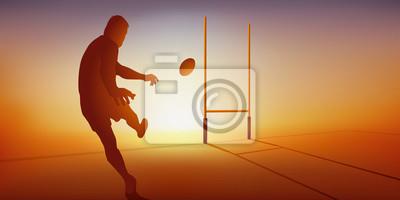 Concept du match de rugby avec un joueur qui transforme un essais, en frappant le ballon pour l'envoyer entre les poteaux.