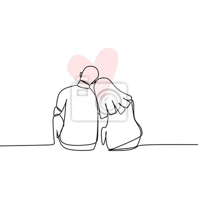 Bild Concept of romantic couple in love continuous line drawing vector illustration