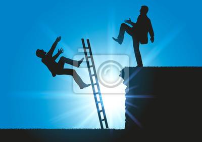 Bild Concept sur le conflit en entreprise pour le leadership, un homme fait volontairement tomber son concurrent d'une échelle.