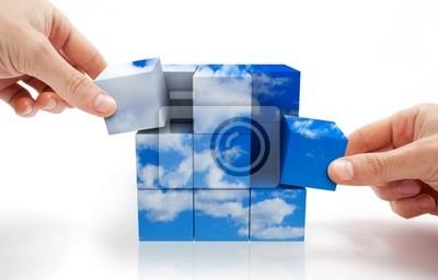 concepto de Desarrollo sostenible con Puzzle de cubos