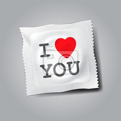 Condom mit Text Ich liebe dich, Vektor-Illustration eps10.