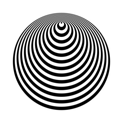 Cone shape. 3D illusion. Geometric design element.